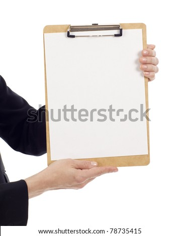 Hands holding a clipboard with a blank paper isolated over white background, write your text message