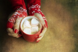 Hands holding a mug of hot chocolate with marshmallows