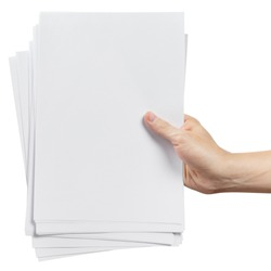 Hands holding a stack of white paper, isolated on white background