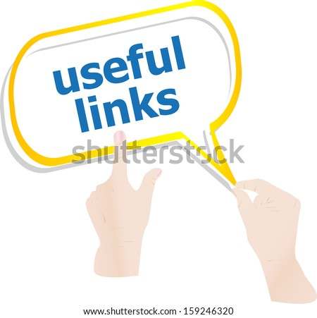 hands holding abstract cloud with useful links word, raster