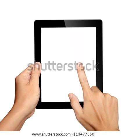 hands holding and touching on tablet pc isolated on white background