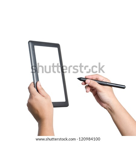 Hands holding and writing on digital tablet.  Isolated on white.