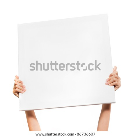 Hands holding big blank paper over head