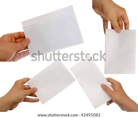 hands holding blank envelopes with clipping path