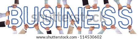 Hands holding blue letters forming Business tag