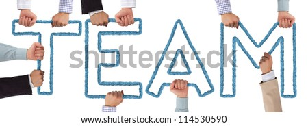 Hands holding blue letters forming Team tag