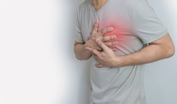 Hands holding chest with symptom heart attack disease