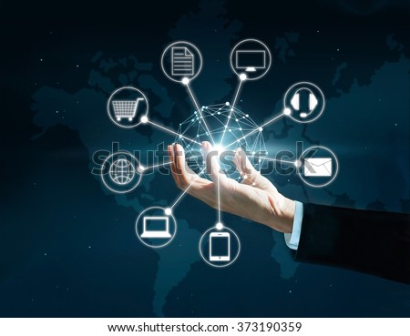 Hands holding circle global network connection, Omni Channel