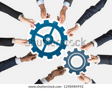Hands holding cogs icon clipart