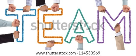 Hands holding colorful letters forming Team tag