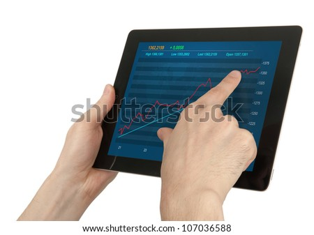 Hands holding digital tablet with stock Quotes