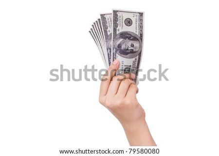 Hands holding dollars isolated on white background