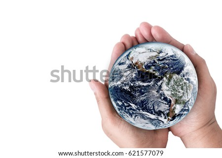 Hands holding earth on isolate white background. Elements of this image furnished by NASA.