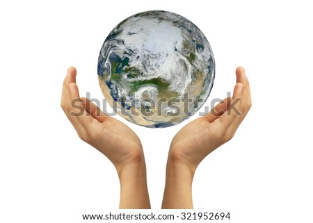 Hands holding earth on white background. Elements of this image furnished by NASA