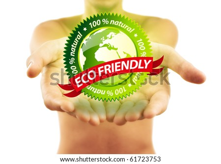 Hands holding Eco friendly sign, isolated on white - stock photo