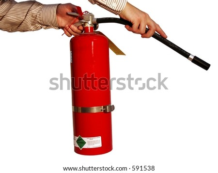 Hands holding fire extinguisher