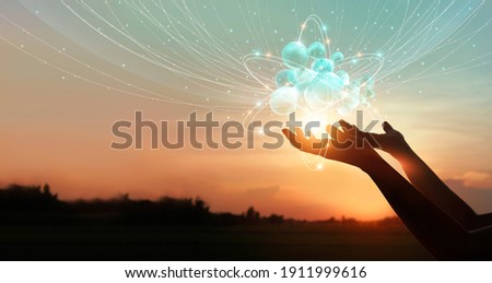 Hands holding global network connection icons. Internet of things and intelligence technology in digital network enables people lifestyle more smarter and comfortable, Innovation of futuristic.  Stock foto ©