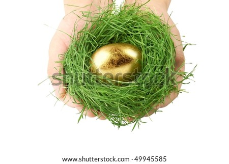 Hands holding grass nest with gold egg,Concept.