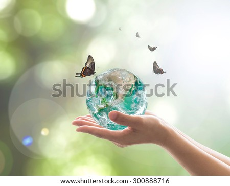 Hands holding green planet with butterflies on blurred green color bokeh background of natural tree leaves facing sun flare: Saving world environment concept: Elements of this image furnished by NASA