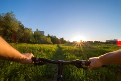Hands holding handlebar of a bicycle with green meadow on background. View from bikers eyes.