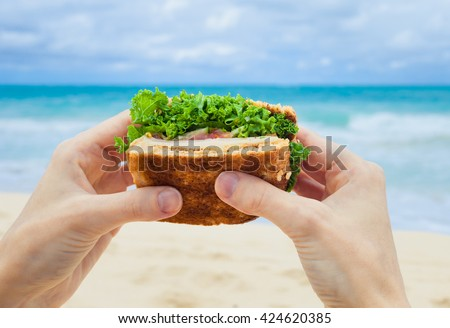Hands holding healthy sandwich on the beach.