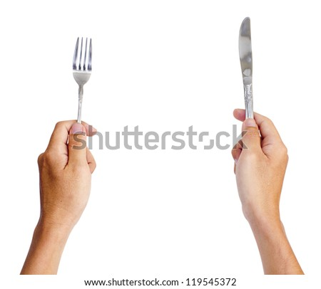 hands holding knife and fork, for dinning concepts.Isolated on white, with clipping path of both hand.