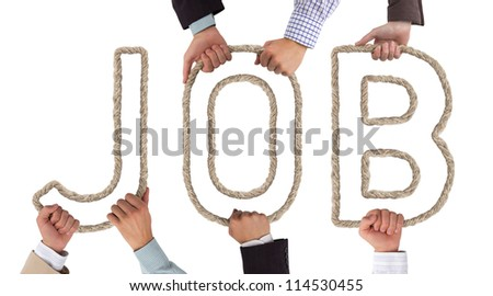 Hands holding letters forming Job tag