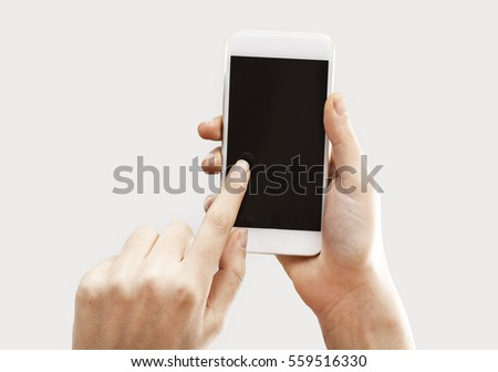 Hands holding mobile phone #559516330