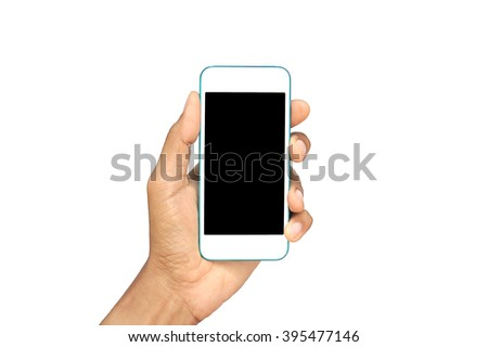 Hands holding mobile phone isolated on white #395477146