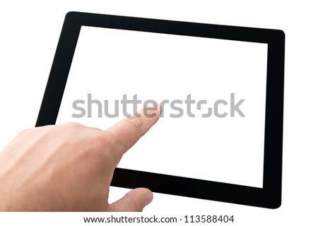 Hands holding modern digital tablet pc with blank screen