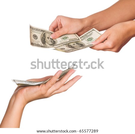 Hands holding money dollars isolated on white background
