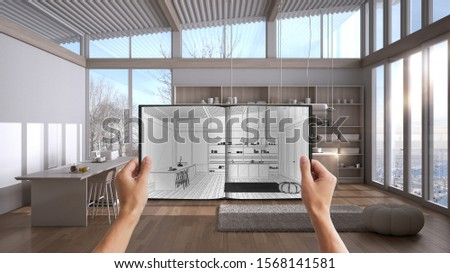 Hands holding notepad with creative kitchen design blueprint sketch or drawing. Real interior design project background. Before and after concept, architect designer work flow idea, 3d illustration