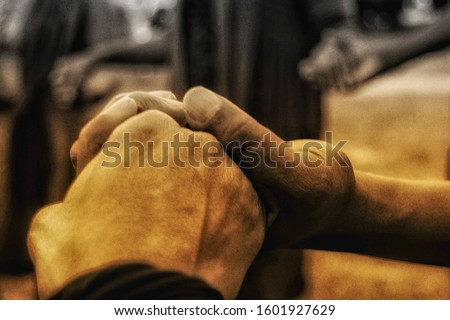 Hands holding on to one another Stock foto ©