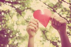 Hands holding paper heart. Instagram effect