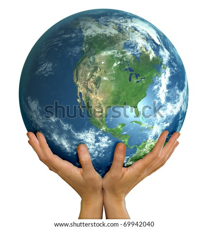 Hands holding realistic big globe symbolizing environmental care, facing North America