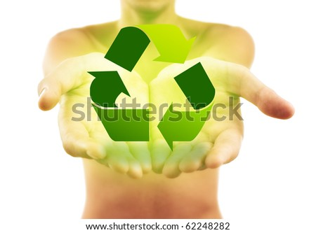 Hands holding recycle sign, isolated on white