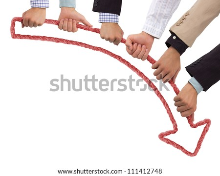 Hands holding red arrow pointing downwards