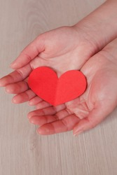 hands holding red heart, health care, love, organ donation, mindfulness, wellbeing, family insurance and CSR concept, world heart day, world health day, National Organ Donor Day.