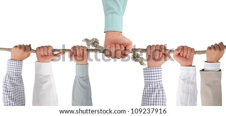Hands holding rope, conceptual background