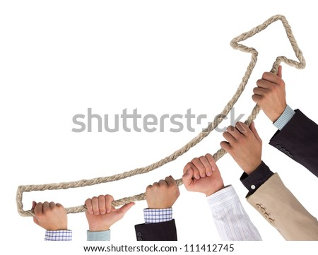 Hands holding rope forming arrow pointing upwards