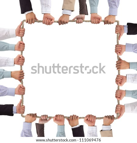 Hands holding rope forming square
