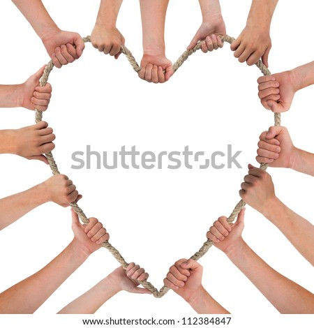 Hands holding rope, heart shape, with space for text