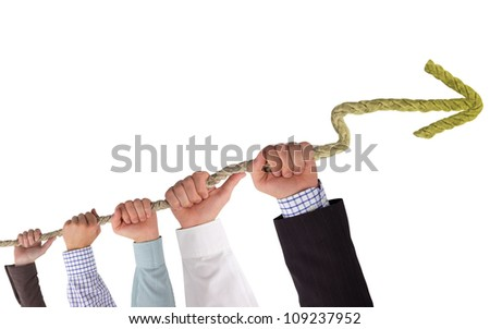 Hands holding rope with yellow arrow, concept of stagnation