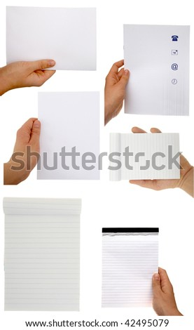 Hands holding sheets of paper isolated with clipping path