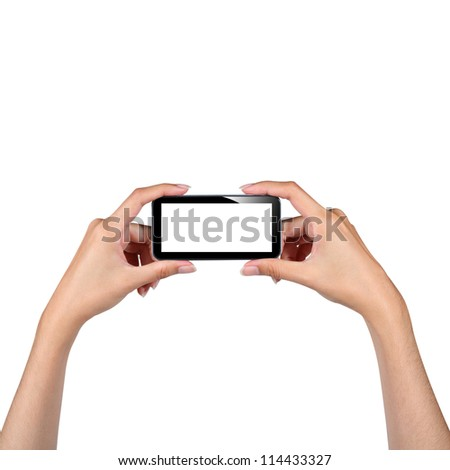 Hands holding smartphone isolated on white