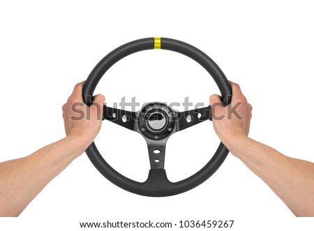 Hands holding steering wheel isolated on white #1036459267