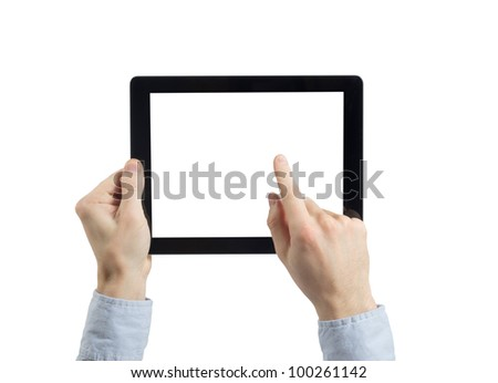 hands holding tablet computer #100261142