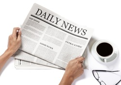 Hands holding the Business Newspaper and glasses and coffee cup isolated on white background, Daily Newspaper mock-up concept