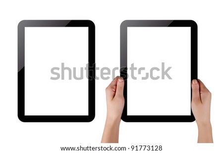 Hands holding touch screen tablet pc with blanc screen