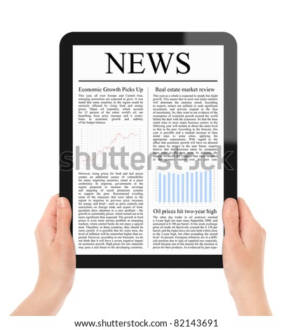 Hands holding touch screen tablet pc with business news. Include 2 clipping path for screen and tablet with hands.